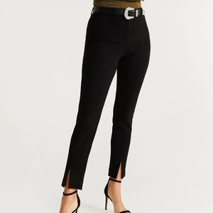 MANGO BLACK TROUSERS WITH FRONT SLIT AT THE HEM